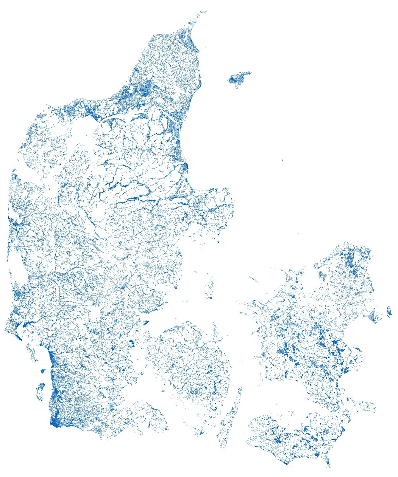 Denmark plotted by every mapped stream & river