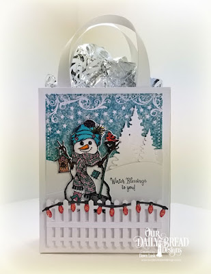Our Daily Bread Designs Stamp/Die Duos: White as Snow, Paper Collection: Christmas 2014, Custom Dies: Curvy Slopes, Trees & Deer, Fence, Christmas Lights, Snowflake Sky, Card Caddy & Gift Bag