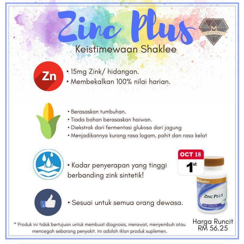 kelainan zinc shaklee berbanding jenama lain