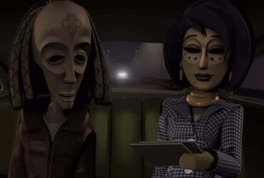 Lina y Bwana en un taxi.