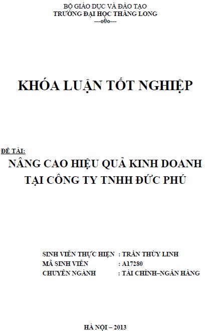 Nâng cao hiệu quả kinh doanh tại Công ty TNHH Đức Phú