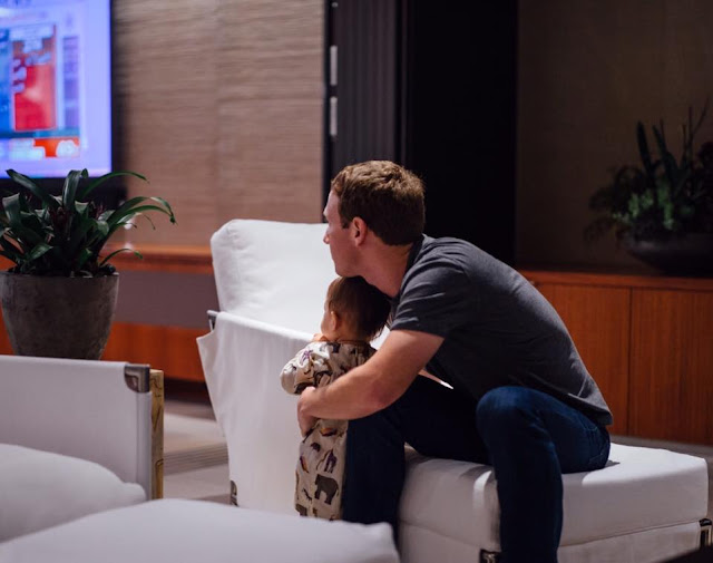 Facebook Owner Mark Zuckerberg And His Daughter Max Spotted Watching The U.S Election On Television