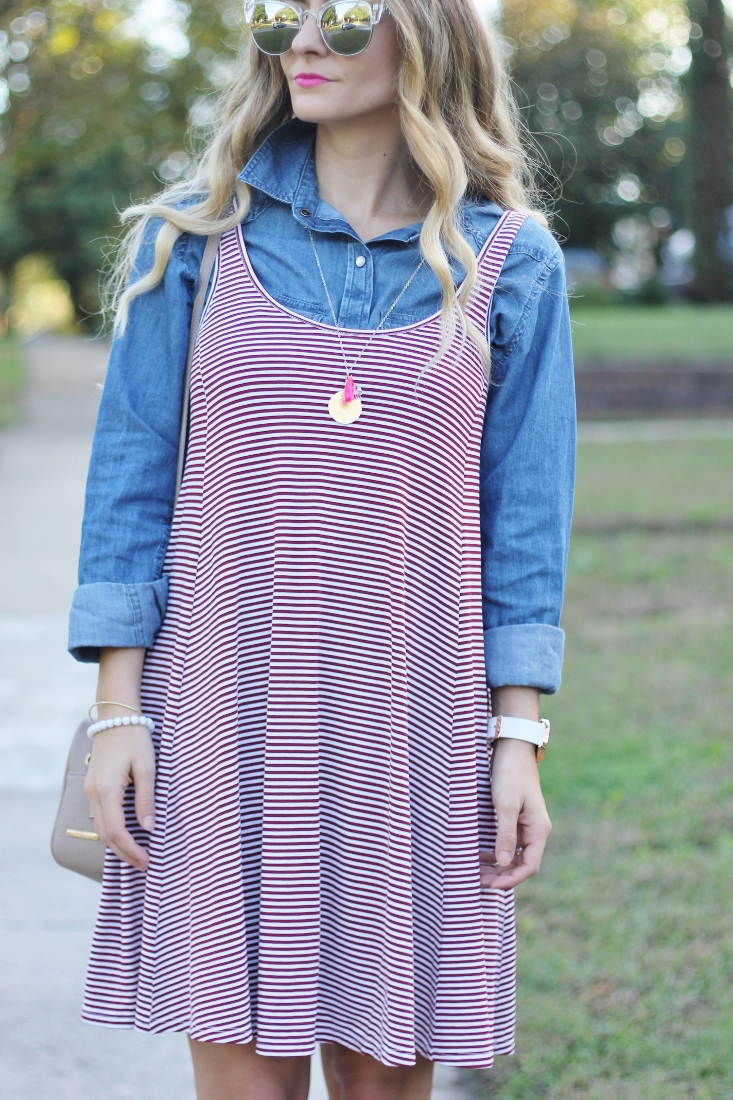 stripe swing skirt dress with blue denim shirt