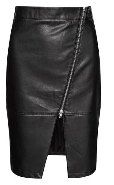 Falda con textura de cuero y cremallera