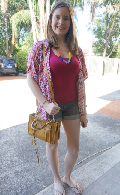 Spring opshopping outfit pritned kimono singlet denim shorts yellow Regan bag Havaianas | AwayFromBlue