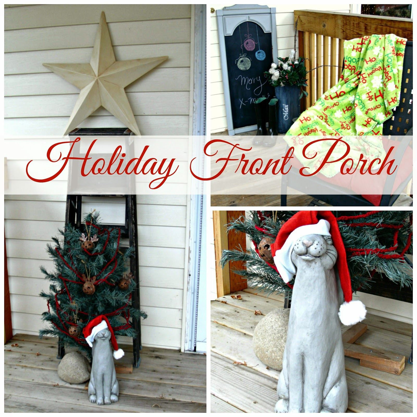 decorating a porch for Christmas