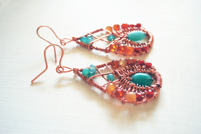 copper earrings green