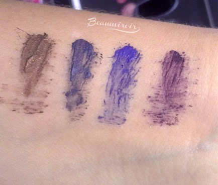 Lancome Grandiose mascara swatches: Brun, Bleu, Saphir and Violet Mirifique