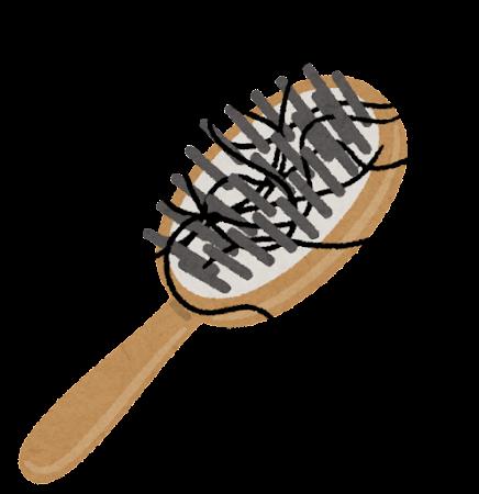 髪の毛のついたヘアブラシのイラスト(黒い毛)