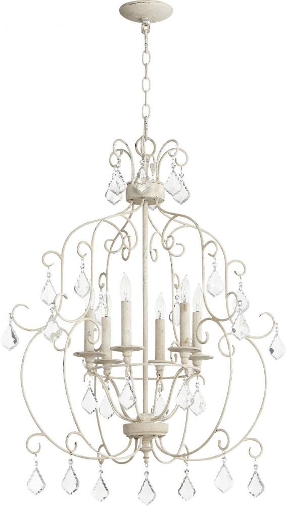 cottage style, light and bright, crystal chandelier, Quorum Ariel, Southern Living