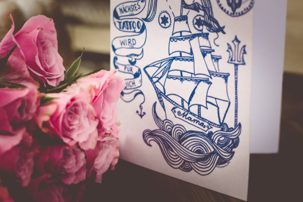 Muttertagskarte zum Selberausdrucken mit maritimen Motiv