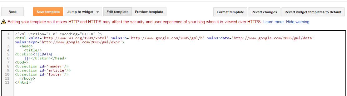 membuat template blog sendiri mengharuskan untuk menghapus kode awal