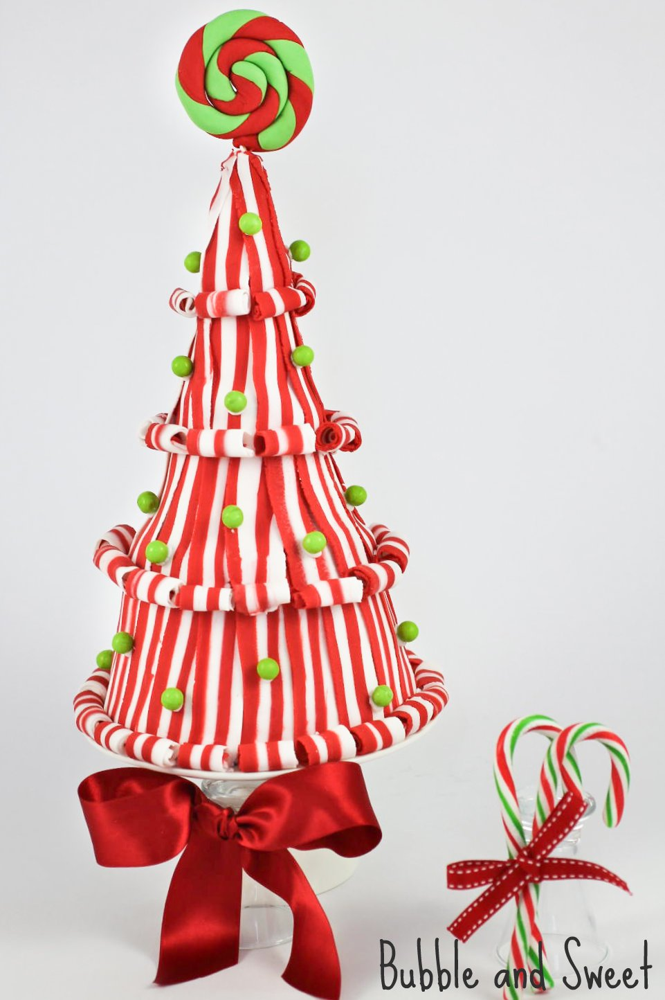 lollipop and candy christmas tree cake tutorial - Lollipop Christmas Decorations