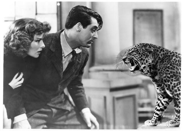 Katherine Hepburn et Cary Grant aux prises avec un léopard dans L'Impossible Monsieur Bébé, réalisé par Howard Hawks