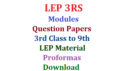 LEP 3RS Modules Baseline Test Question Papers Material Proformas Download  LEP 3RS Baseline Test Telugu English Maths Question Papers for Primary Level and High School Level Download Learning Enhancement Programme 3RS Reading Writing and Arithamatic Material Modules Action Plan Download Telangana School Education Dept SSA Hyderabad New Academic Year Download question Papers for Base Line test as a part in Badi Bata in Govt Schools baseline-test-question-papers-modules-material-download