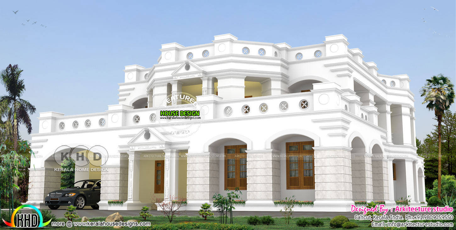 Colonial decorative home plan with 5 bedrooms | Kerala home ... on colonial houses with dormers, colonial houses with shutters, colonial house with 3 car garage, colonial house with painted brick,