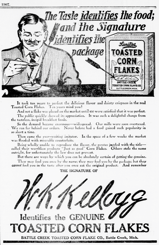 Sanitas Toasted Corn Flakes, advertising 1907