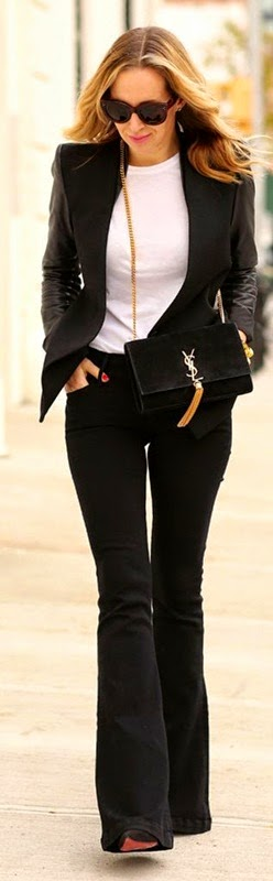 Wearing a Flare Black Jeans with Blazer and Bag Saint Laurent for Chic Look
