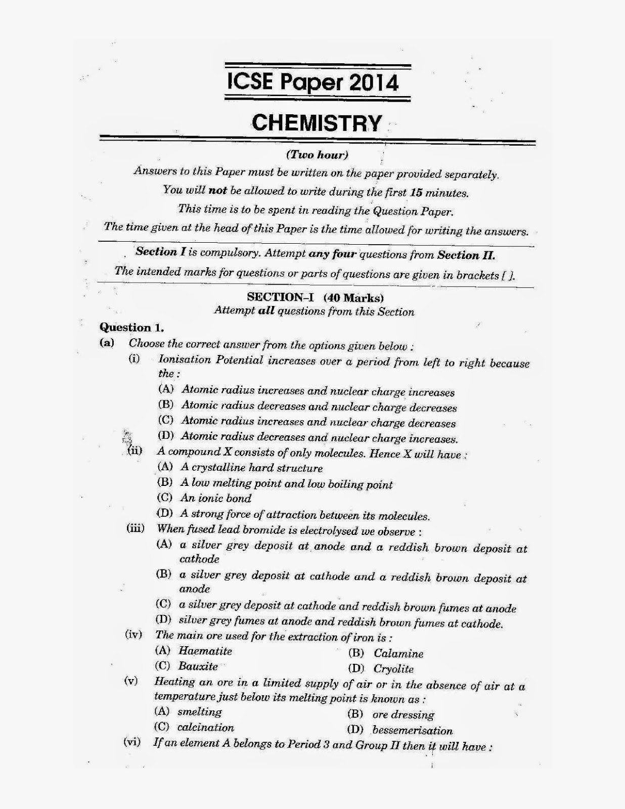 icse class 10th chemistry solved question paper 2014