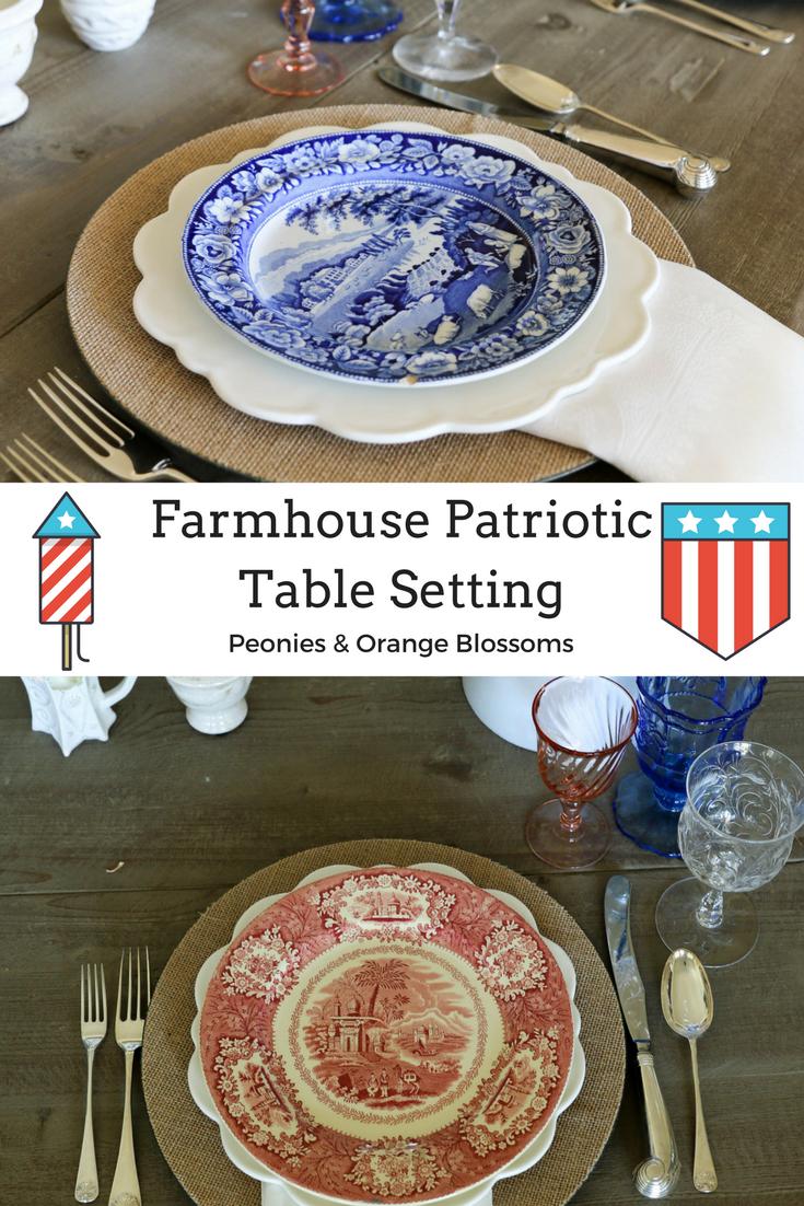 Farmhouse Style Patriotic Table Setting