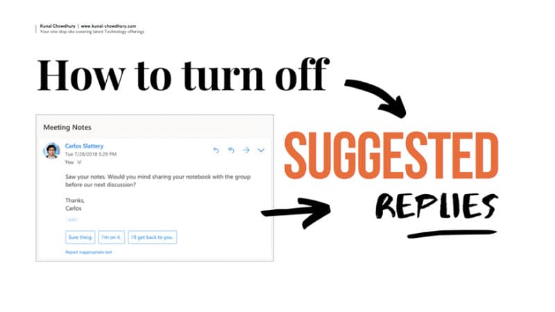 Microsoft Office Version 2108 (Build 14301.20004) allows you to turn off Suggested Replies