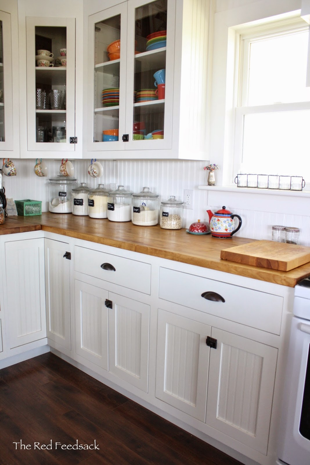 Butcher Block Counters White Kitchen : The Red Feedsack: Update On Butcher Block Countertops!