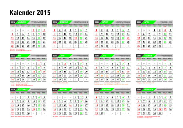 Download Kalender 2015 Masehi / 1436 Hijriyah Corel