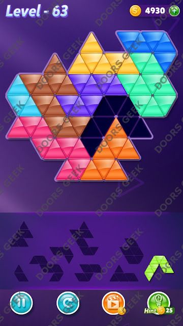 Block! Triangle Puzzle 9 Mania Level 63 Solution, Cheats, Walkthrough for Android, iPhone, iPad and iPod