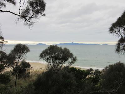 Vistas de la playa y península de Freycinet desde los alrededores de Swansea, en Tasmania