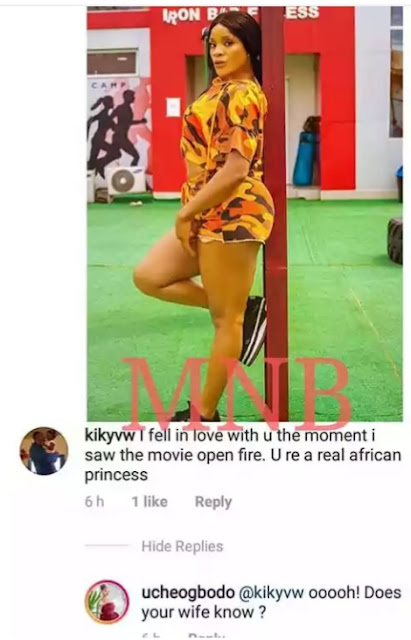 Check Out The Reply Actress Uche Ogbodo Gave A Married Man That Confessed His Love For Her.