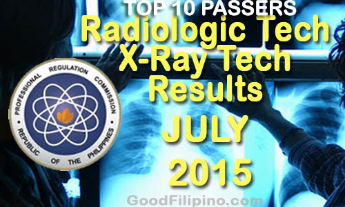 TOP 10 Radiologic & X-Ray Technologist Board Exam Passers (July 2015)