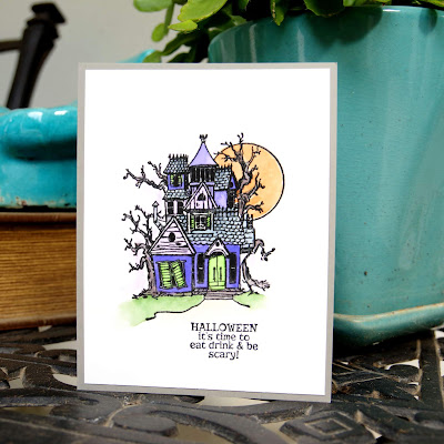 Handmade Halloween Card using watercolor markers.
