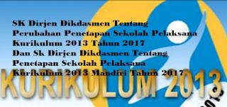 SK Dirjen Dikdasmen tentang Perubahan Penetapan Satuan Pendidikan Pelaksana Kurikulum 2013 tahun 2017