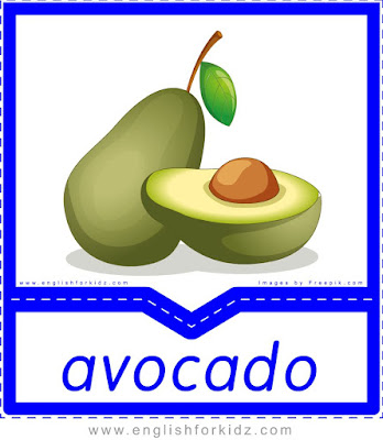Avocado - English flashcards for the fruits and vegetables topic