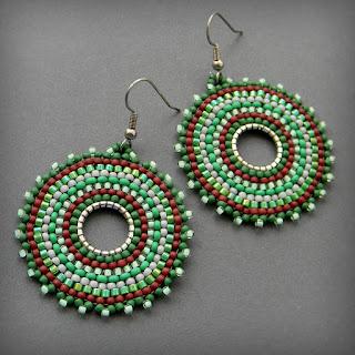купить этнические украшения зеленые сережки подарок девушке