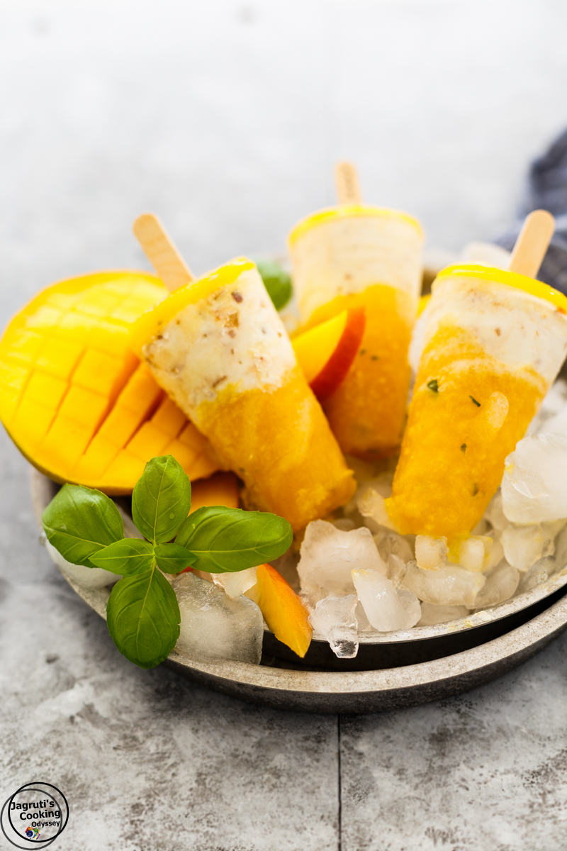 Mango, Basil and cashew Yogurt Popsicle Jagrutis Cooking odyssey