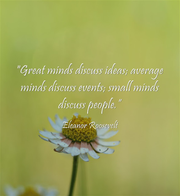 Great minds discuss ideas; average minds discuss events; small minds discuss people. Eleanor Roosevelt quote