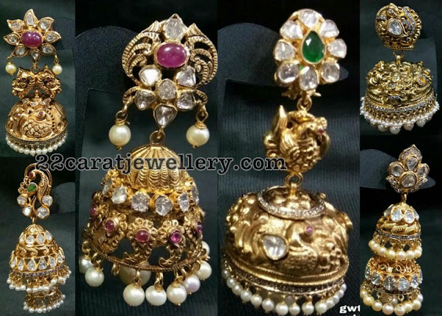 Pachi Peaccok Jhumkis by Sri Balaki Jewels