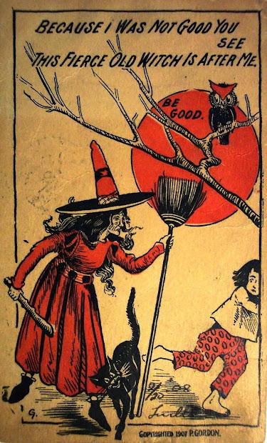Vintage Halloween Witch Postcards . 1900