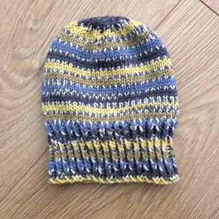 Blue tit hand knit hat