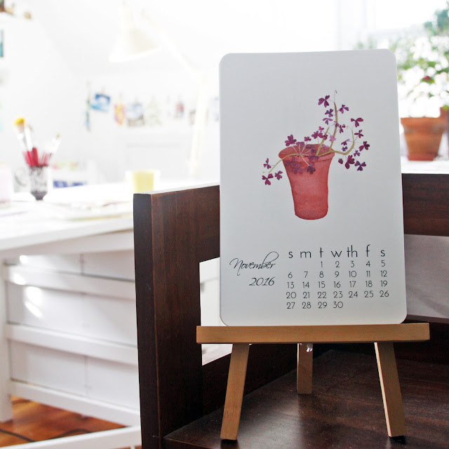 watercolor calendar, art print calendar, studio, Anne Butera, My Giant Strawberry
