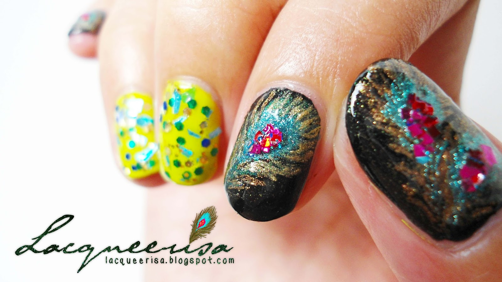Lacqueerisa: Deepavali Peacock Nails