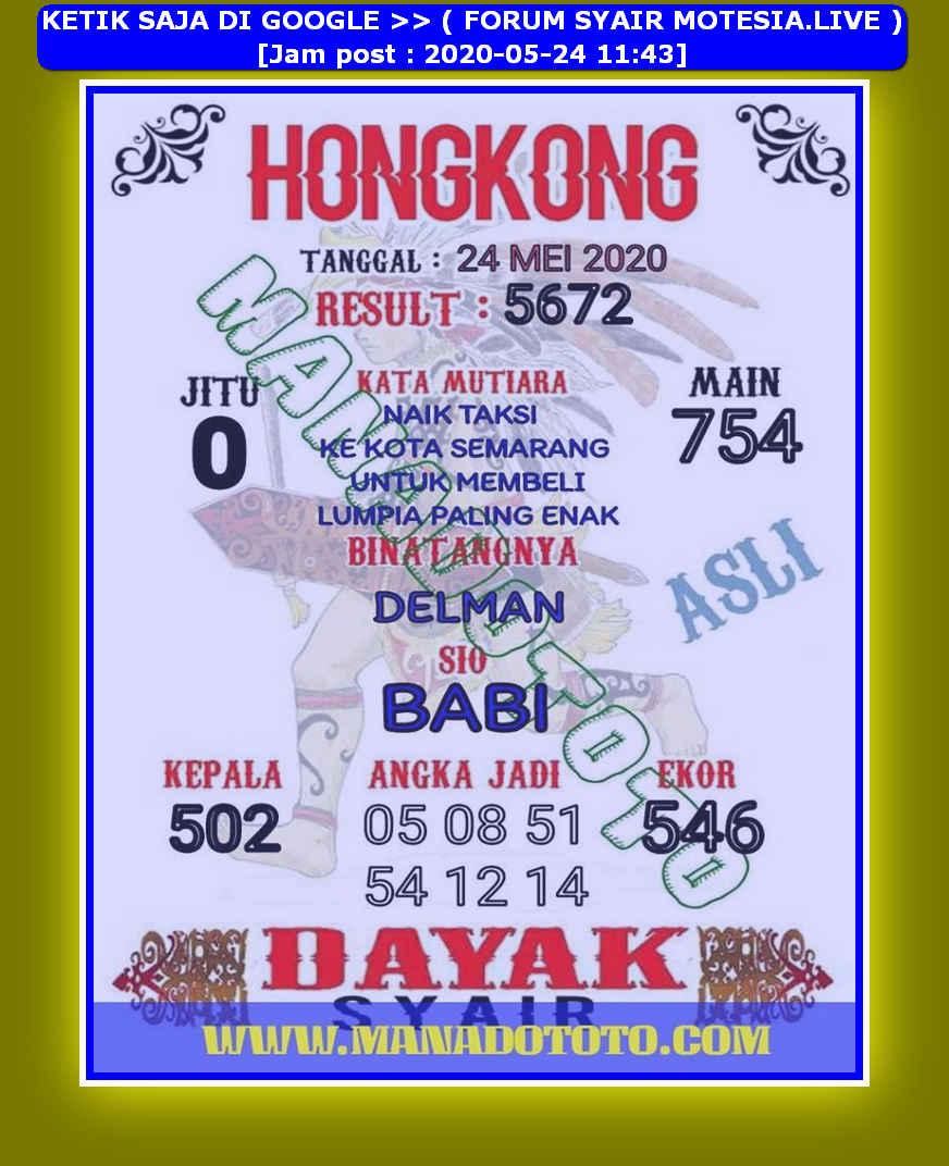 Kode syair Hongkong Minggu 24 Mei 2020 50
