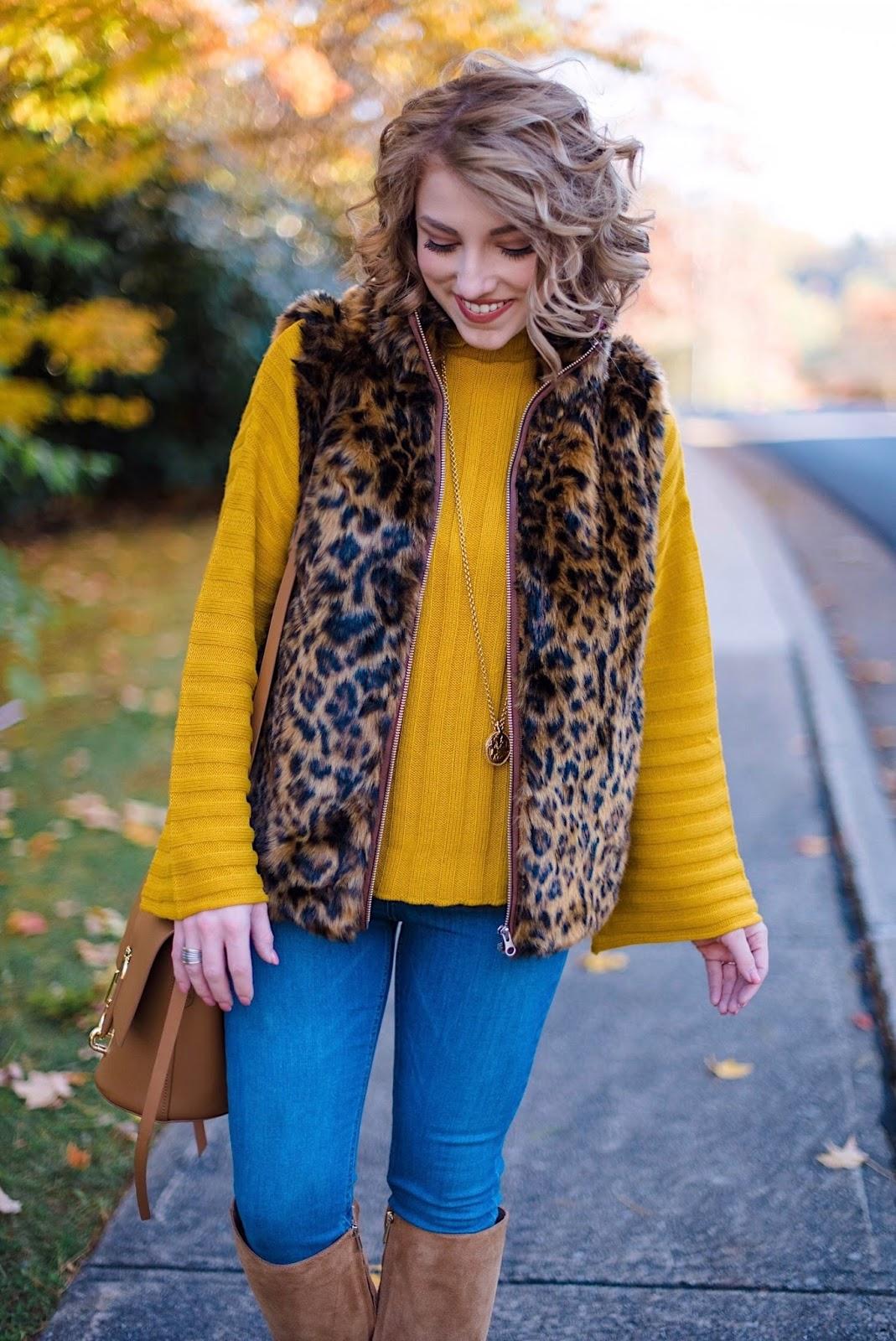 J.Crew Leopard Faux Fur Vest - Something Delightful Blog
