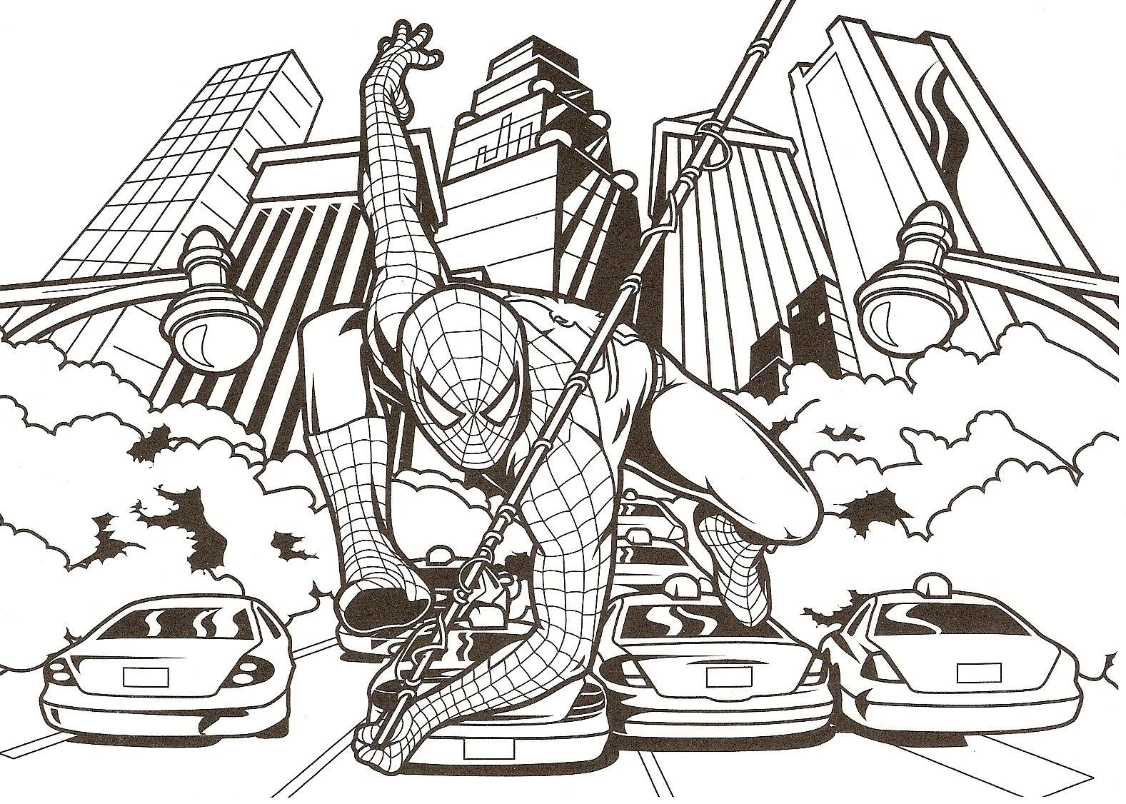 10 Mewarnai Gambar Spiderman Pemandangan Kartun Masjid Mobil