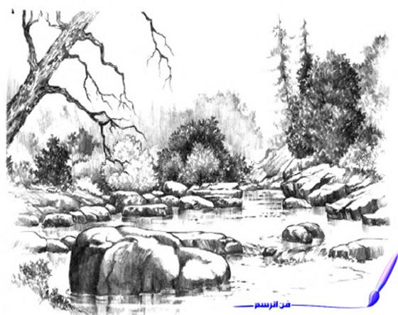 ف ن الر س م رسم منظر طبيعي واد اشجار صخور بقلم الرصاص