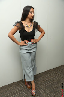 Swetha Basu in a Black Sleeveless Top Long Skirt at Mixture Potlam Movie Audio Launch 075.JPG