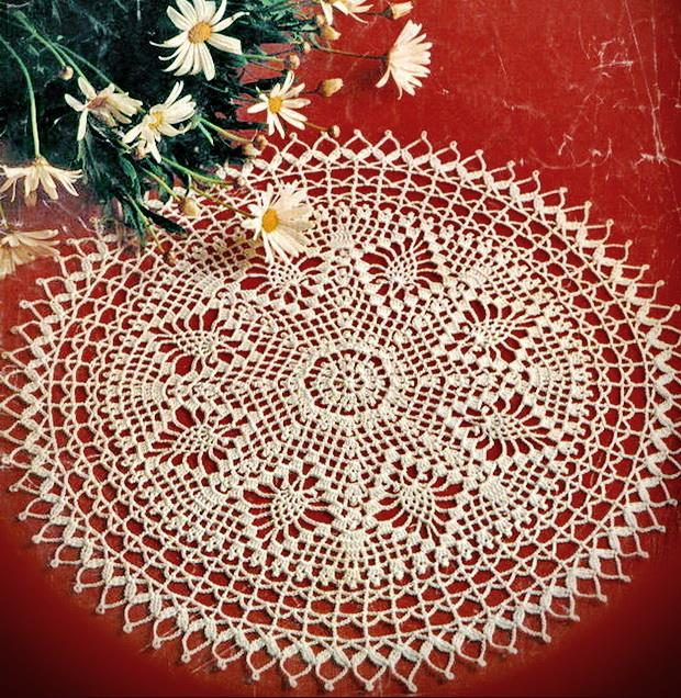 Crochet Doily, Vintage Lace - lace doily Round white 33 rows no:27