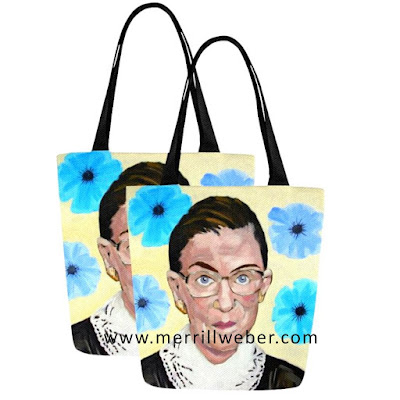 Ruth Bader Ginsburg painting tote bag by Merrill Weber, notorious RBG