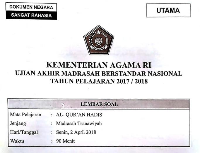 Bank Soal Contoh Soal Uambn Al Qur An Hadits Madrasah Tsanawiyah Mts Kurikulum 2013 Tahun 2019 Soal Un